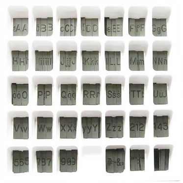 Mini Gothic Font Sorted in a Tray
