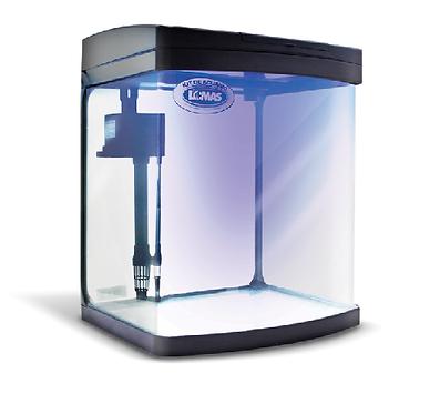 Kit acuario rectangular negro con luz LED