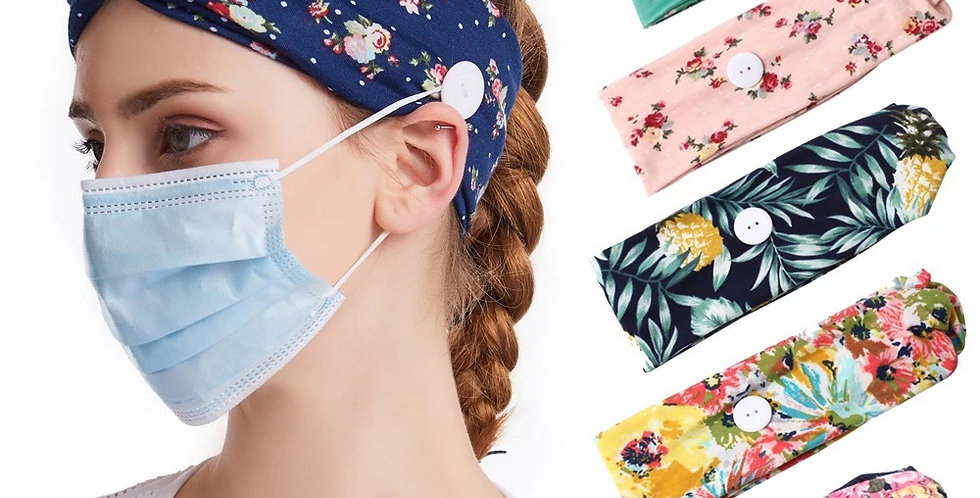 Boho Style Button Headwrap Headbands for adults