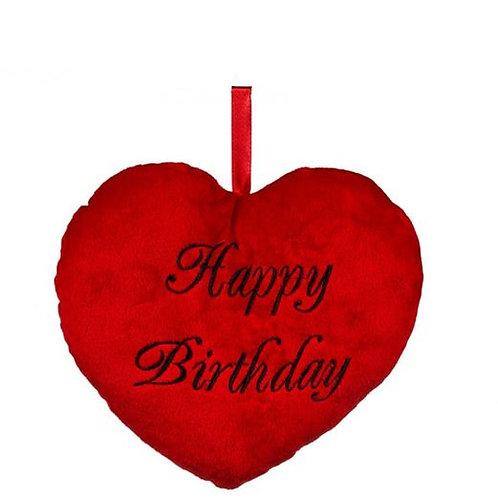 """Almofada Coração """"Feliz Aniversário"""" 25 cm"""
