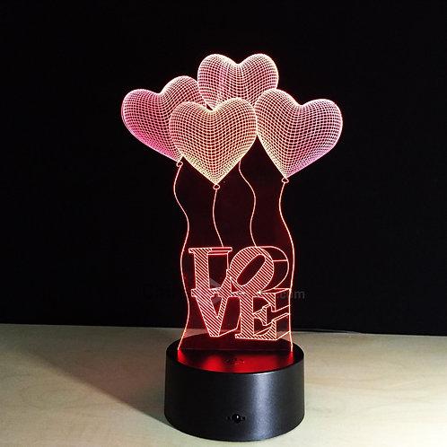 Lâmpada LED 3D LOVE com Balões (7 Cores)