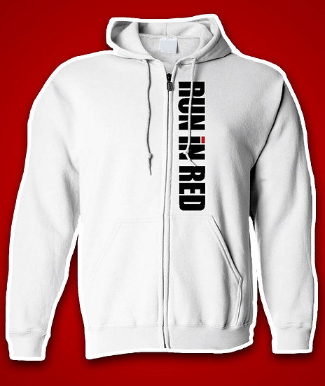 'RUN iN RED' Official Zip Up White Hoodies