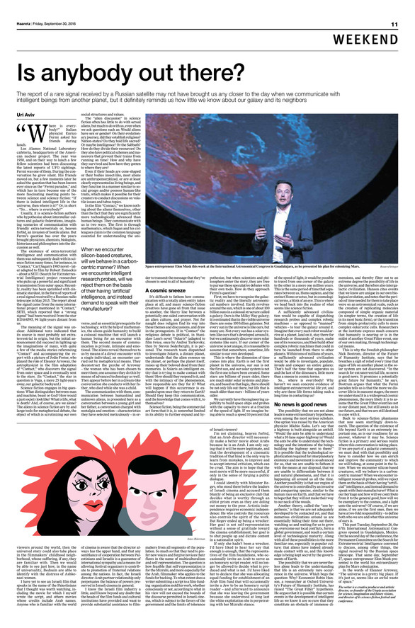 Haaretz Magazine : Is Anybody Out There? The Fermi Paradox (English)