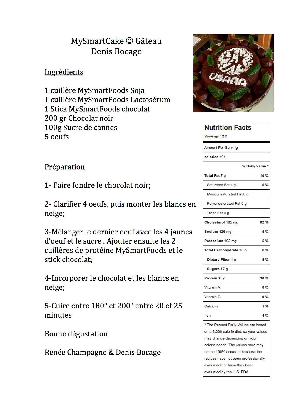Gâteau au chocolat sans gluten, sans lactose Denis Bocage