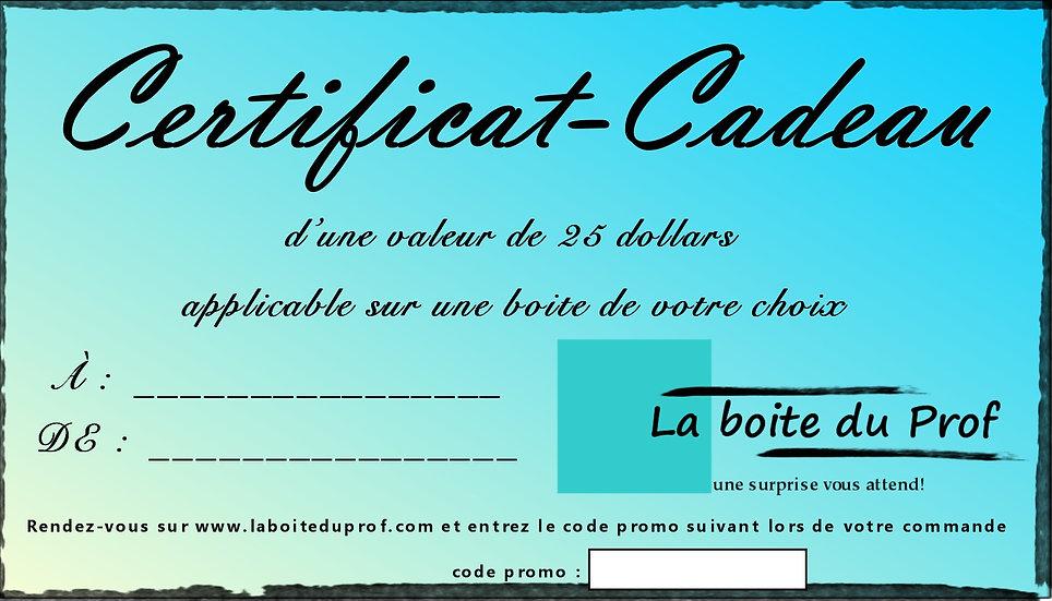 Certificat-cadeau 25$