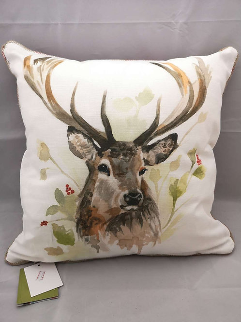 Piped country stag cushion