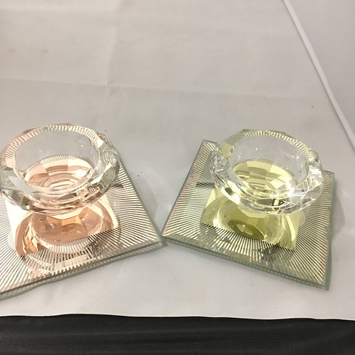 Glass diamond candle holders