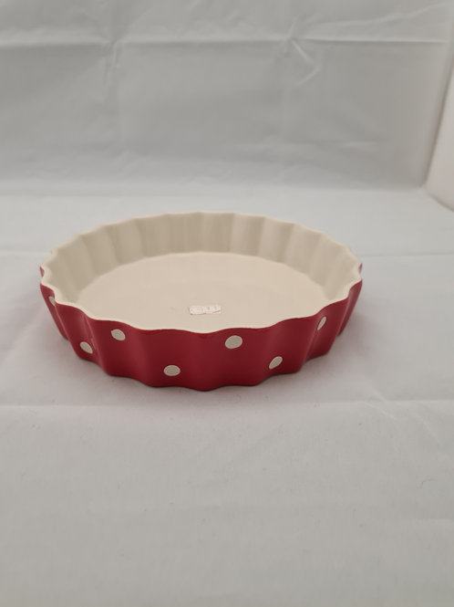 Red spotted pie tray