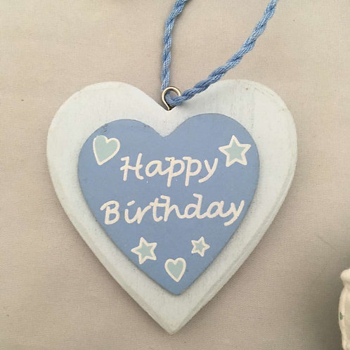 Happy birthday blue wooden heart