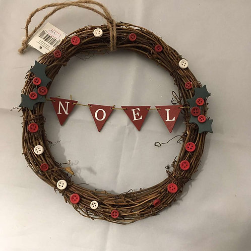 Noel button wreath