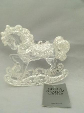 White sparkly rocking horse tree ornament