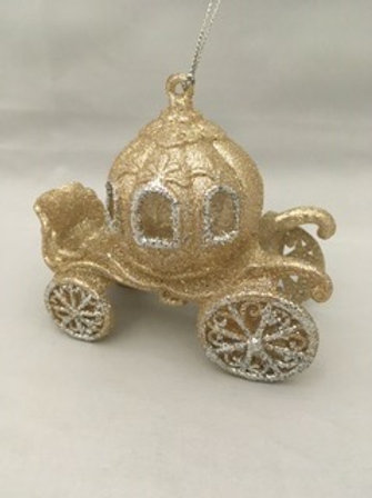 Sparkly golden carriage tree ornament