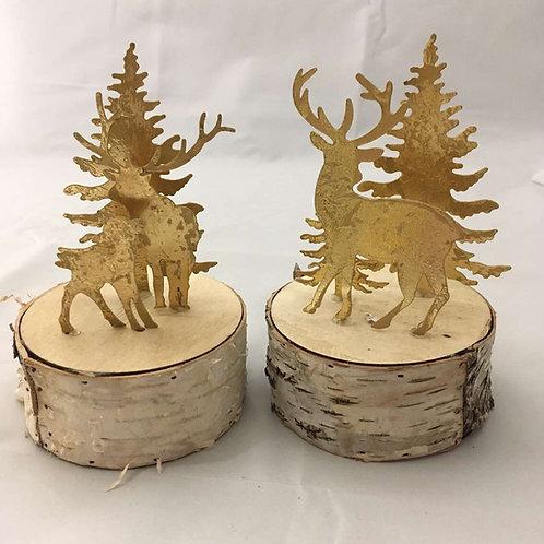 Metal Reindeer on wood pieces