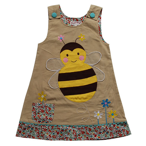 Beige Cord Dress with Bumble Bee Applique