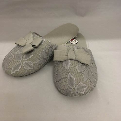 Pair of lace grey slippers