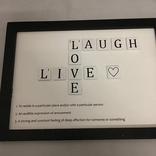 Live Laugh Love crossword ornament