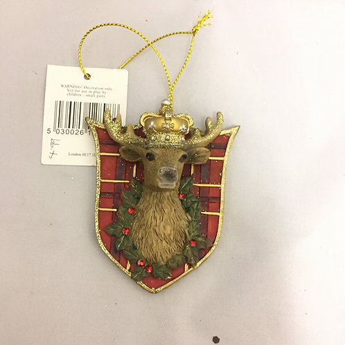 3-D stag head on plaque tree decoration