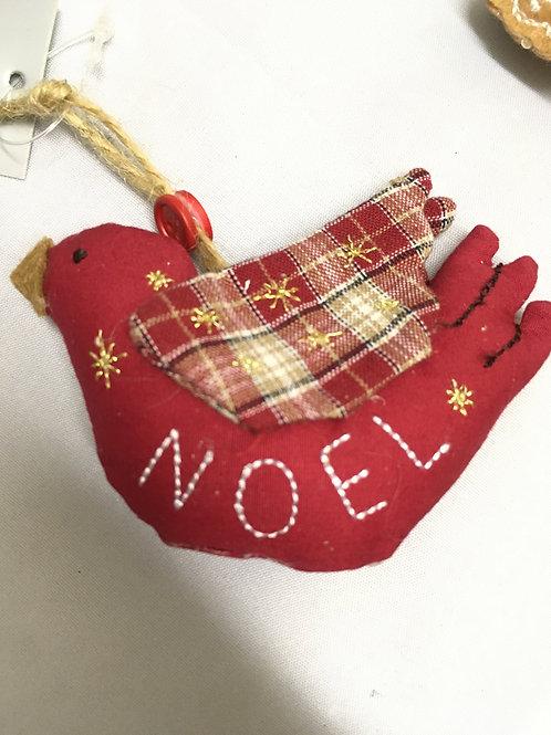 Sewn Welsh bird tree ornament