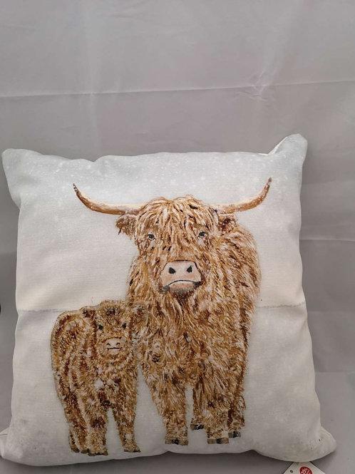 Highland cow snow scene Christmas cushion