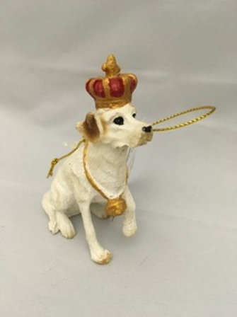Dog with crown tree ornaments