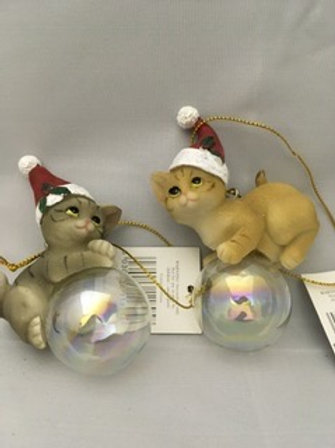 Cat on clear bauble tree ornament