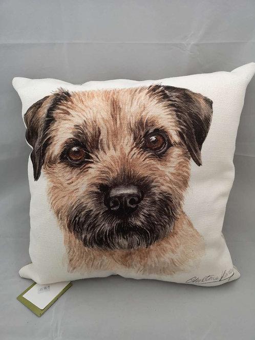 Boston wd Border terrier cushion