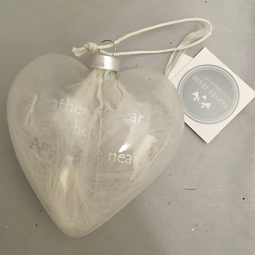 Clear and cloudy heart tree ornament