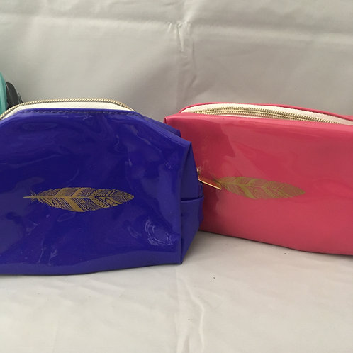 Blue and pink wash bags