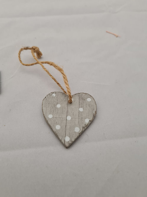 Wooden spotty grey heart