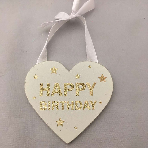 Golden happy birthday wooden heart