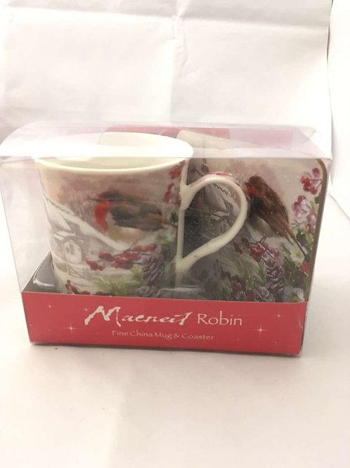 Robin and house mug with coaster