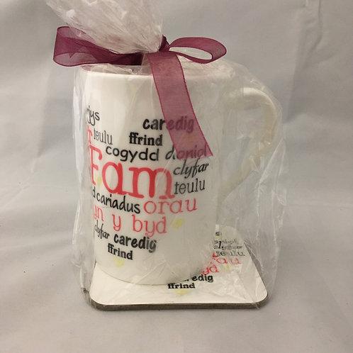 Welsh relative mug with coaster