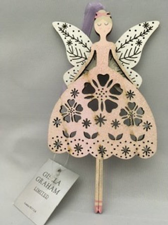 Large wooden angel tree ornament