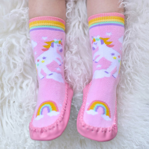 Unicorn Motif Moccasin Slippers