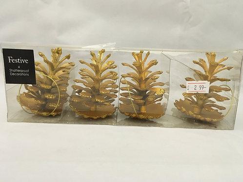 Golden pinecone decorations