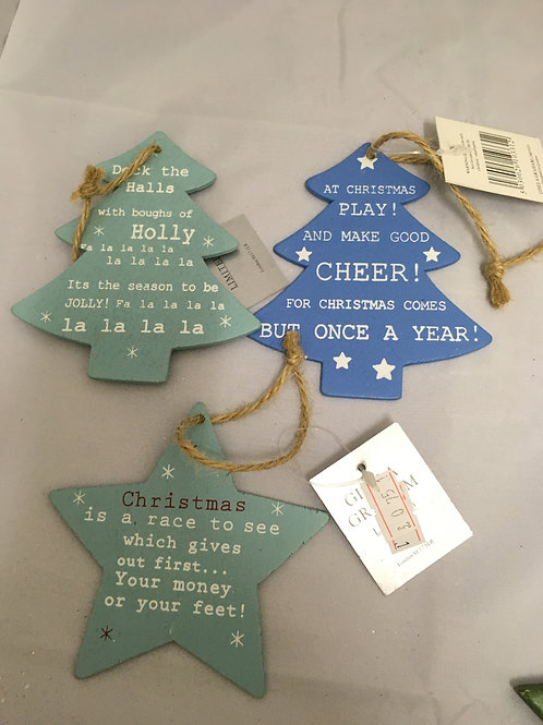 Wooden worded tree ornaments