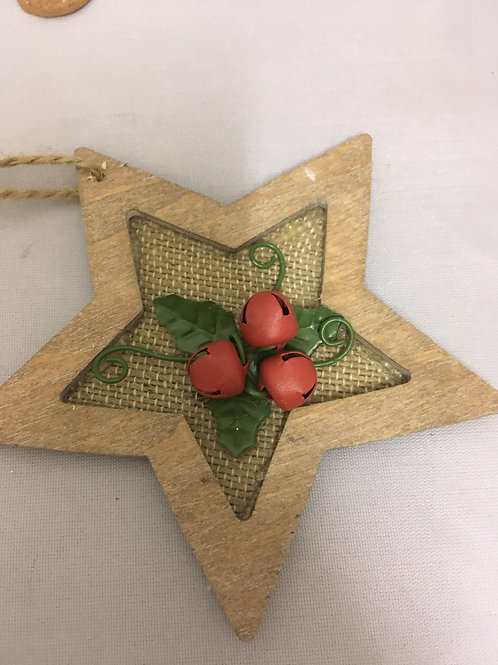 Wooden star holly tree ornament
