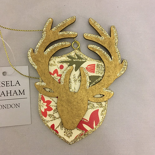 Stag head on plaque tree ornament