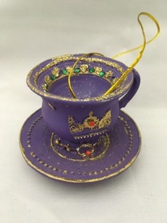 Ceramic decorative cup and saucer tree decoration