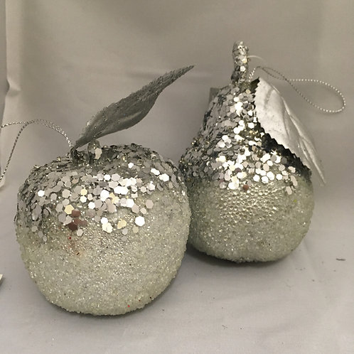 Glittery silver pear and apple tree ornament