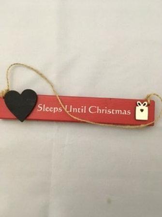 Wooden welsh sleeps until Christmas sign