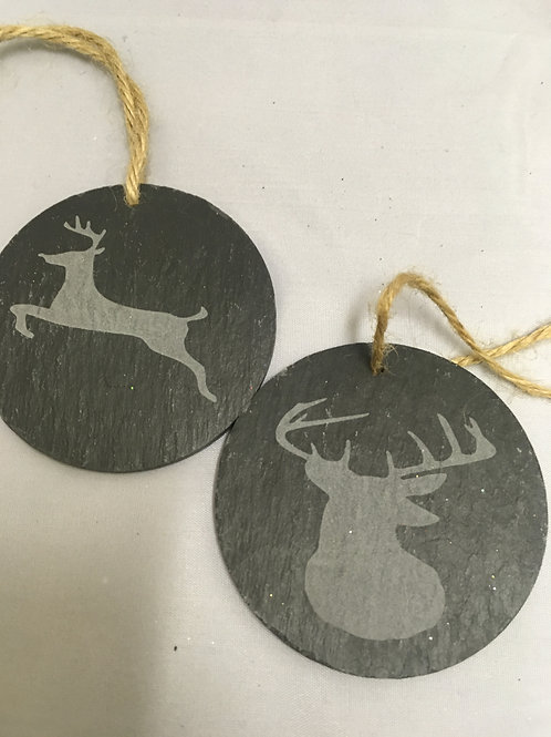 Slate reindeer tree ornaments