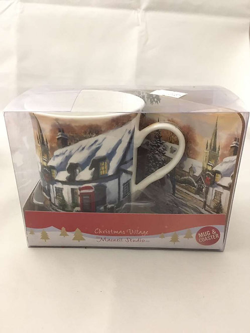 Christmas village mug with coaster
