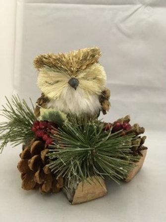 Owl on twig ornament