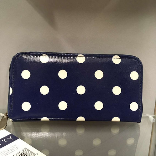 Blue and white spotted purse