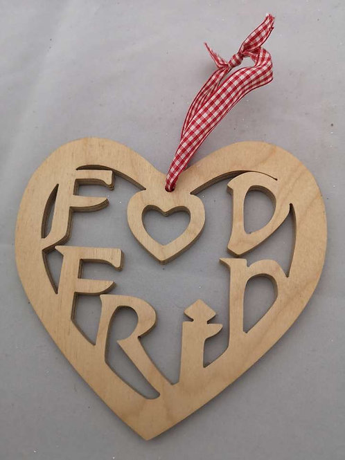 Fod frid welsh wooden heart