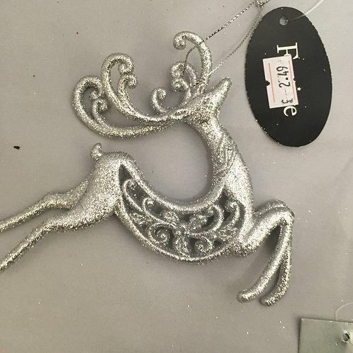 Silver glittery reindeer tree ornament
