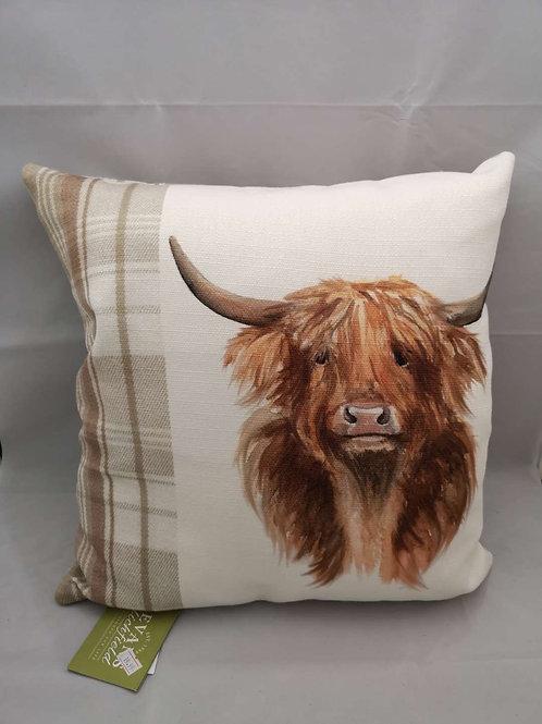 Natural highland cow cushion