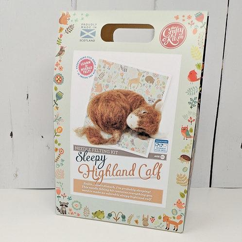 Sleepy Highland Calf Needle Felting Kit