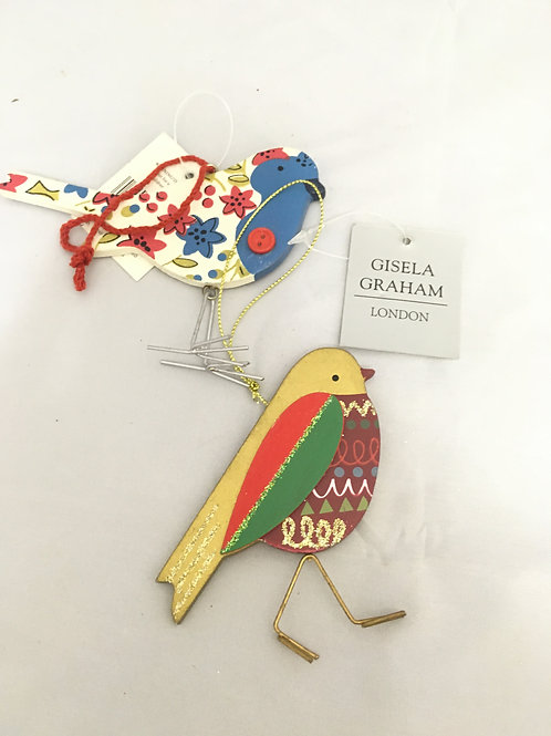 Wooden bird with metal feet tree ornament